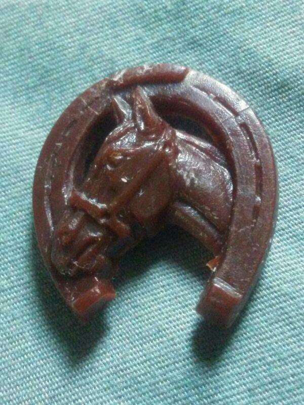 Vintage Chocolate Celluloid Horse & Horseshoe Button.