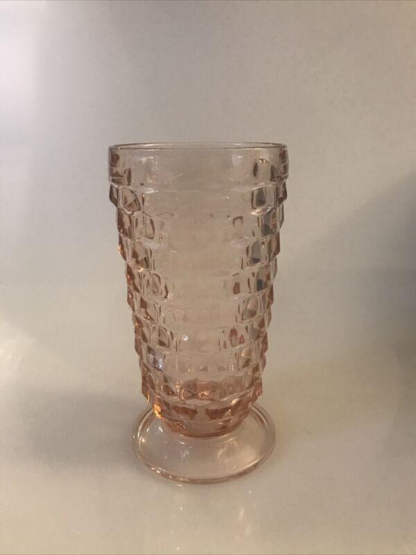 Vintage Pink Depression Jeanette Cubist Tea Glass