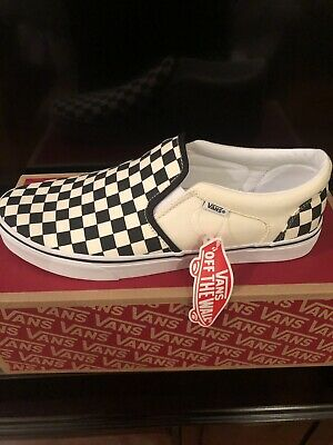 New VANS Asher Men's Size 9.5 Checkerboard Black And Natural