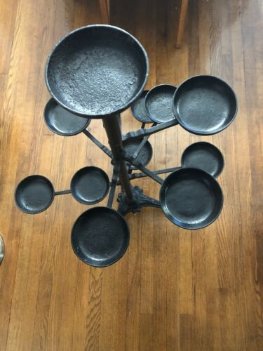 Antique Victorian cast iron swing arm plant stand, (Unaltered) 12 holders