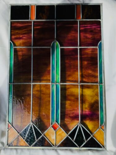 "Vintage Stained Glass Panel, Great Design, Great Condition 30 1/2"" x 20 1/4"""