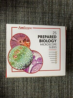 Amscope Ps25 Prepared Microscope Slide Set Slides Biological Science 25