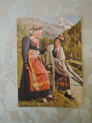 vintage unused postcard, traditional folk costume of Val d'Herens Switzerland Traditional Folk Costume