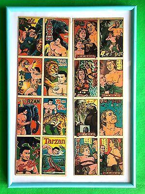MENKO Tarzan Rare Uncut Sheet Vintage 1950s Japan Trading Card with  frame