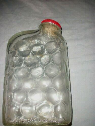 Vintage Anchor Hocking Polka Dot/Bubbles Refrigerator Water Bottle Orig Red Cap
