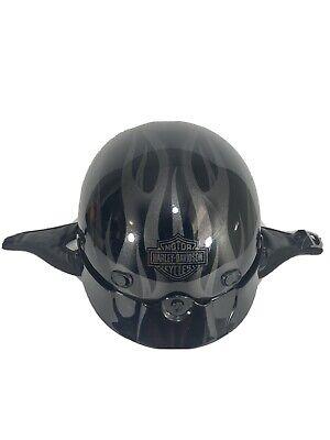Harley-Davidson Men's L Gloss Black Flame Spoiler 1/2 Helmet 98206-13VM