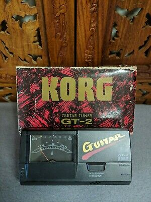 Vintage KORG GT-2 Guitar Tuner~Meter~Analog~Lighted Dial~Auto~Flat~Bypass~Input