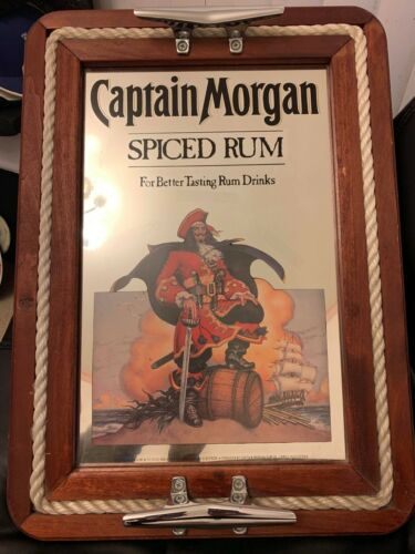 Vintage Captain Morgan Spiced Rum Rope Ship Boat Mirror Sign 15.5 x 21.5