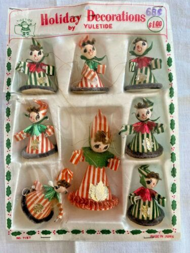 Lot of 8 YULETIDE Chenille Pipe Cleaner Angel Figures New Old Stock