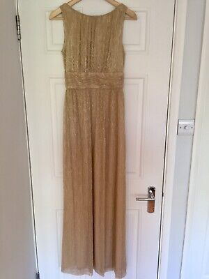 BIBA Gold Metallic Lurex Maxi Dress Size 8 Evening Long Prom Grecian](Gold Greek Dress)