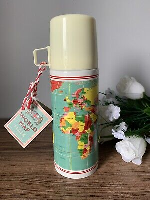 VINTAGE WORLD MAP DESIGN STAINLESS STEEL FLASK AND CUP 350ML