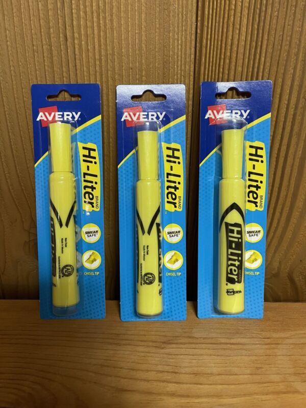 Hi-Liter Avery Highlighter, Yellow Lot of 3