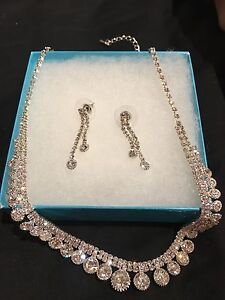 Crystal necklace and earring set for Wedding or Prom