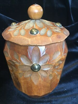 Vintage French Hand Turned And Carved Tabac Jar Made In Lisieux