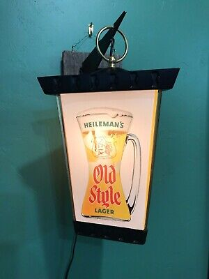 VINTAGE HEILEMANS OLD STYLE Beer 3-Sided Wall Light  13 1/2