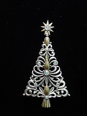 Jj  Jonette Jewelry Silver   Gold Pewter Jeweled Christmas Tree Pin