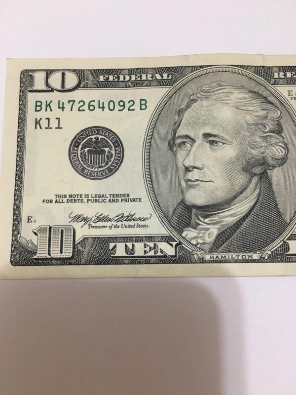 *.1999 $10 U.S. FRN vintage style** S# BK47264092B  (Dallas)Note