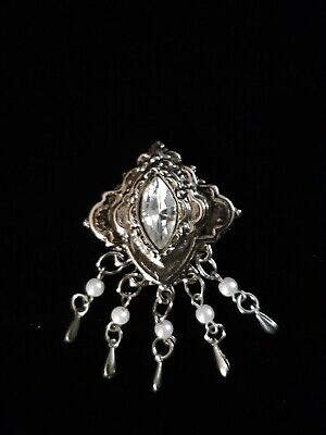 VINTAGE ANTIQUE STYLE NICE SILVERTONE DANGLING FAUX PEARLS AND STONE PIN BROOCH