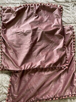 Velvet Pom Pom Blush Pink Throw Pillow Zipper Covers 24