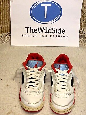 NICE NIKE AIR JORDAN RETRO 5 V LOW FIRE RED 314339-101 KIDS PS SHOES 3Y