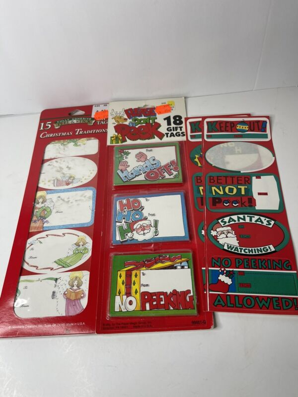 Vintage Christmas Gift tags Sticker labels New Package