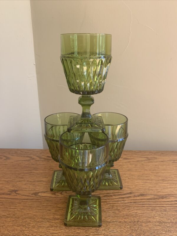 """SET OF 4 Indiana Glass MT VERNON GREEN 6"""" Water Goblets; Wine Glass; (NO FLARE)"""
