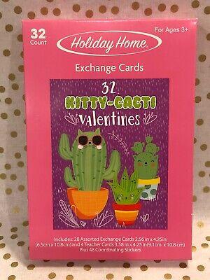 New Valentine School Exchange Cards + Stickers Box of 32 Kitty Cat Cactus