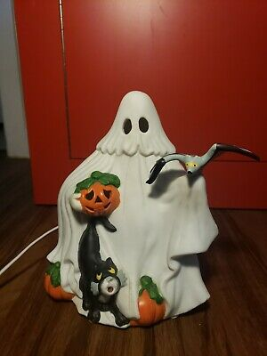 Vintage Halloween Ceramic Light Up Ghost With Pumpkin Black Cat Bat Excellent