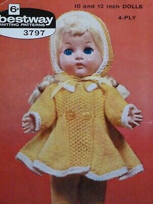 "Vintage 'Bestway' 10 & 12"" Tall Doll's Clothes 4ply Knitting Pattern 3 Items"