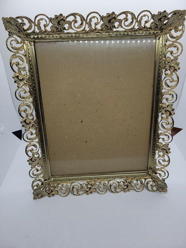 Vintage MCM 8 X 10 Gold Tone White Floral Filigree Pierced Metal Picture Frame
