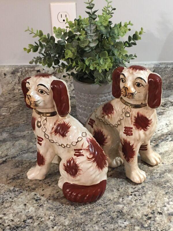 "Pair Orange Crackleware Staffordshire Spaniel Dogs  9 """