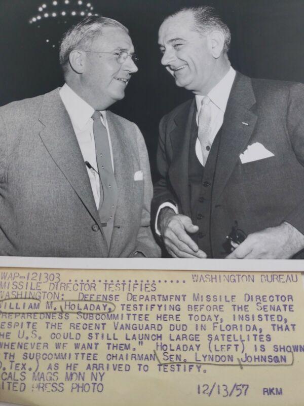 1957 William Holaday & Sen. Lyndon Johnson 9 By 7 B&W Photo