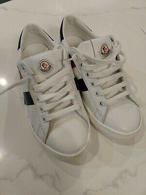 Moncler Kids - double stripe lace-up sneakers Kids , Leather/Rubber Size 31