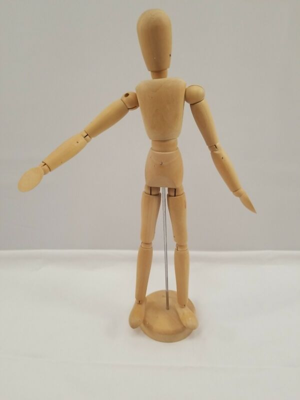"""Wood Artist Poseable Figure Mannequin Jointed 13"""" Tall Art Craft doll"""