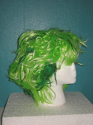 NEW Neon GREEN Feather Accent WIG Punk Rock Anime Sexy Zombie Costume - Punk Rock Zombie Costume