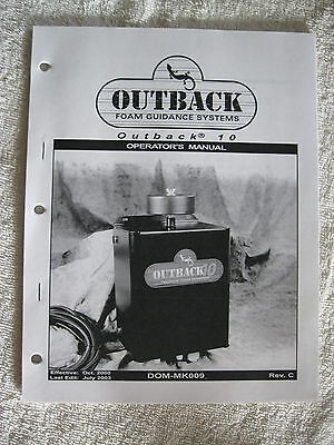 Outback 10 Farm Sprayer Foam Guidance System Operators Maintenance Parts Manual