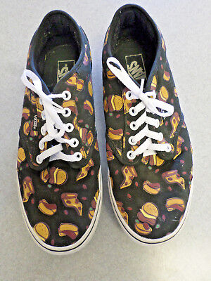 "VANS ""Hamburger, Hot Dog, Pizza"" Graphic Canvas Skate Shoes Men's 9.5"