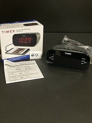 New Timex Large LED Display Dual Alarm AM/FM Clock Radio AUX-IN Buzzer