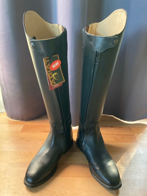 NEW WITH TAGS. Ariat Dressage Boots. Size 9.5 Regular Calf. Front Zippers.