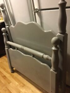Grey twin headboard frame and footboard- available