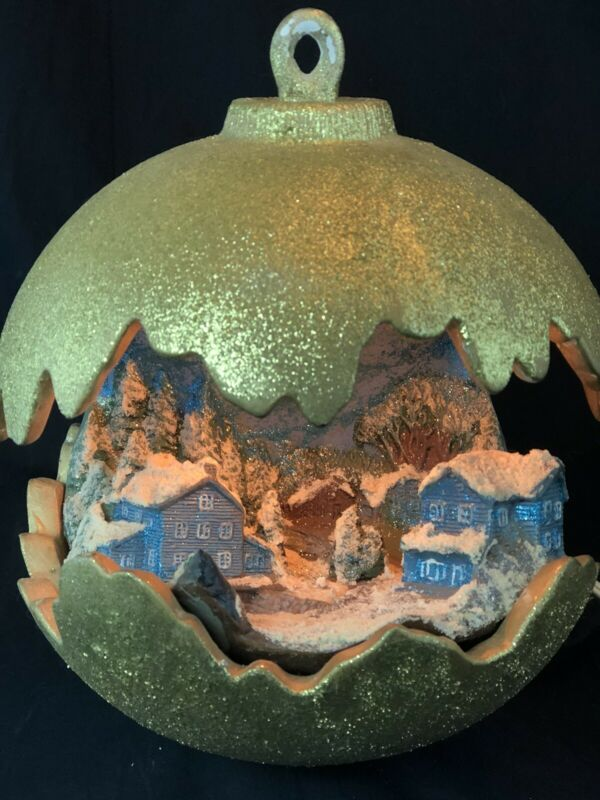 Beautiful Vintage Ceramic Christmas 3D Winter Scene Large Ornament Light Lamp