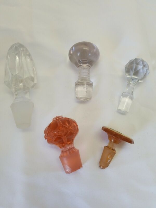 Vintage Clear Glass Decanter Cyrstal Pink Amber Bottle Stoppers Lot of 5 Rare