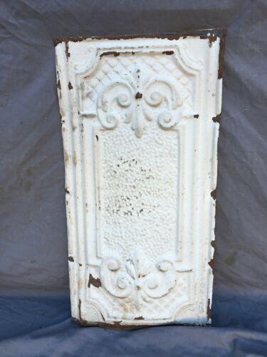 "Antique Decorative Tin Metal Ceiling 13"" x 24"" Shabby VTG White Chic 1132-20B"