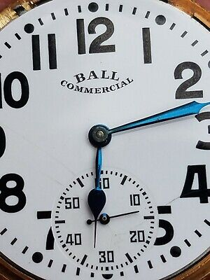 Serviced Ball 16s Commercial Pocket Watch, Gr 435 17J, Two Tone Case, Ex Dial.