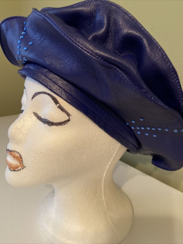 Gorgeous Navy Blue Rhinestone Leather Custom made George Zamau'l Beret NWOT