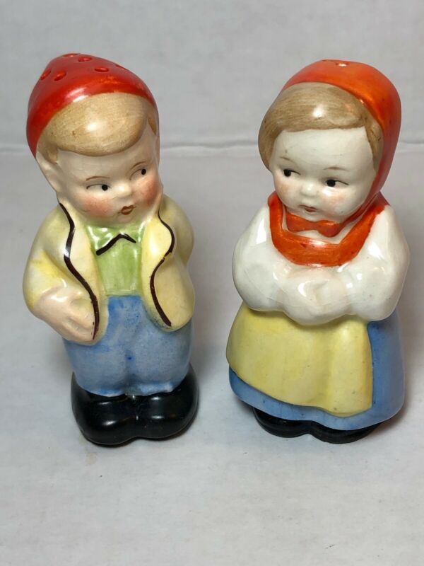 Vintage Couple German Porcelain Hand Painted Salt and Pepper Shakers Germany