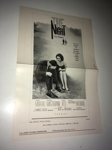 THE NIGHT Movie Pressbook Antonioni Mastroianni Jeanne Moreau LA NOTTE Italian