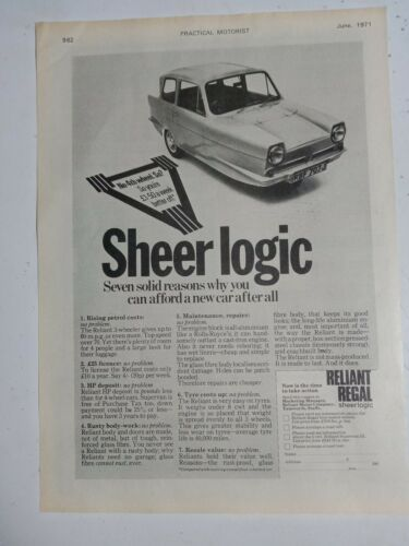 1971 RELIANT REGAL SHEER LOGIC BRITISH MAGAZINE FULLPAGE ADVERTISEMENT