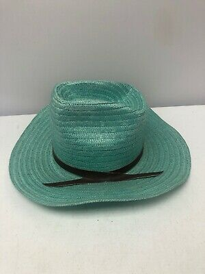 Rare Vintage Turquoise U Shape IT 100% Poly Straw Cowboy Hat Wire in Brim Size -