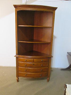 57023 Cherry 2 piece Corner china cabinet bookcase Curio